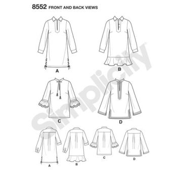 simplicity-tunics-pattern-8552-front-back-view