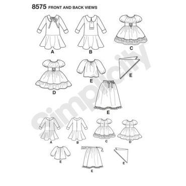 simplicity-vintage-doll-clothes-pattern-8575-front-back-view