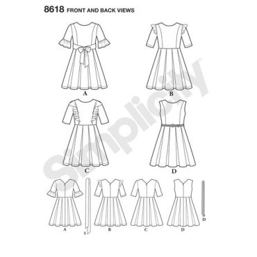 simplicity-border-dress-pattern-8618-front-back-view