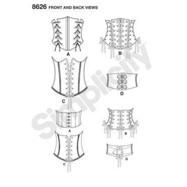 simplicity-corset-belts-pattern-8626-front-back-view