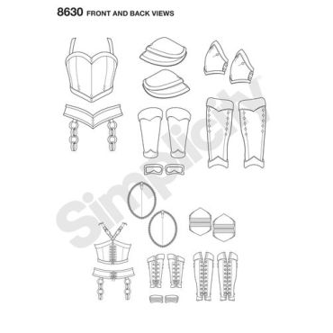 simplicity-cosplay-armor-miss-pattern-8630-front-back-view
