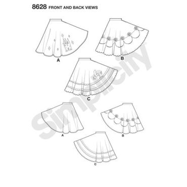 simplicity-disney-skirts-pattern-8628-front-back-view