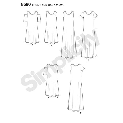 Simplicity Knit Dress Pattern 8590 Front Back View Doctor T Designs