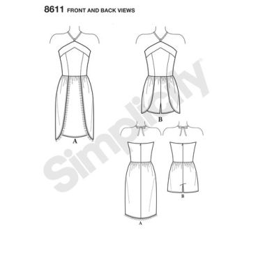 simplicity-mimi-g-dress-romper-halter-pattern-8611-front-back-view