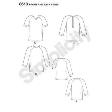 simplicity-mimi-g-mens-baseball-shirt-henley-pattern-8613-front-back-view