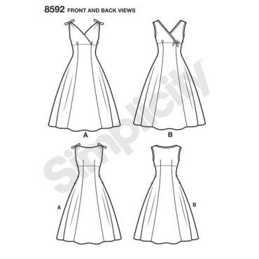 simplicity-vintage-dress-1950s-miss-plus-pattern-8592-front-back-view