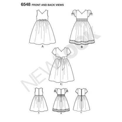 newlook-child-party-dress-pattern-6548-front-back-view