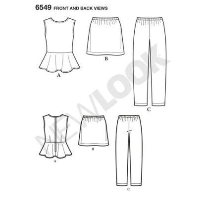newlook-girls-peplum-2pc-dress-pattern-6549-front-back-view