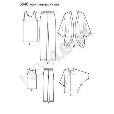 newlook-kimono-separates-pattern-6546-front-back-view