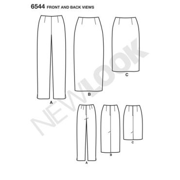 newlook-pencil-skirt-pattern-6544-front-back-view