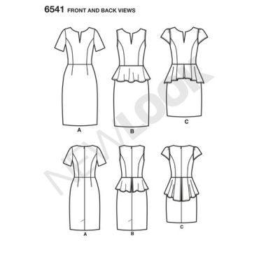 newlook-workwear-dress-pattern-6541-front-back-view