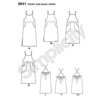 simplicity-bib-dress-pattern-8641-front-back-views