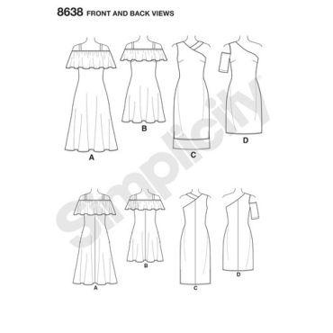 simplicity-exposed-shoulder-dress-pattern-8638-front-back-views