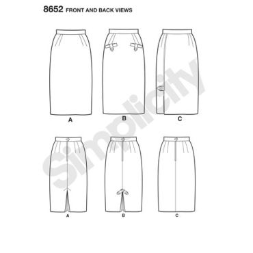 simplicity-gertrude-made-pencil-skirt-pattern-8652-front-back-views
