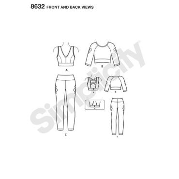 simplicity-harley-quinn-athleisure-pattern-8632-front-back-views