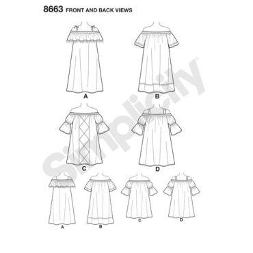 simplicity-off-shoulder-dress-pattern-8663-front-back-views
