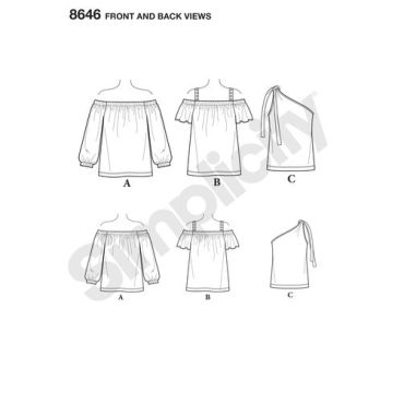 simplicity-off-shoulder-top-pattern-8646-front-back-views