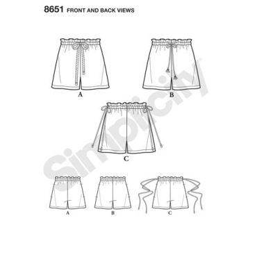 simplicity-paper-bag-shorts-pattern-8651-front-back-views