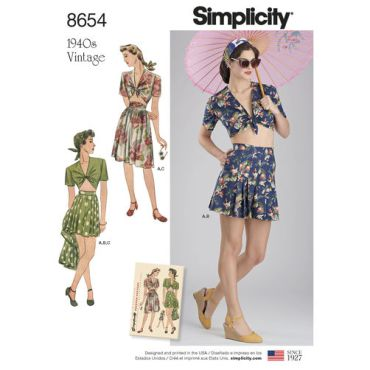 simplicity-vintage-1940s-short-set-skirt-top-pattern-8654-envelope-front