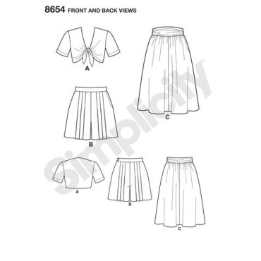 simplicity-vintage-1940s-short-set-skirt-top-pattern-8654-front-back-views