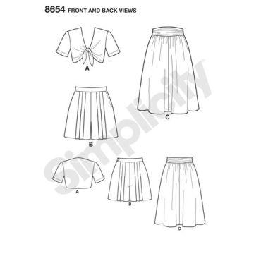 simplicity-vintage-1940s-short-set-skirt-top-pattern-8654-front-back-views