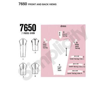 simplicity-vintage-kaftan-kite-dress-pattern-7650-front-back-views