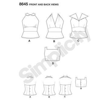 simplicity-vintage-top-halter-pattern-8645-front-back-views