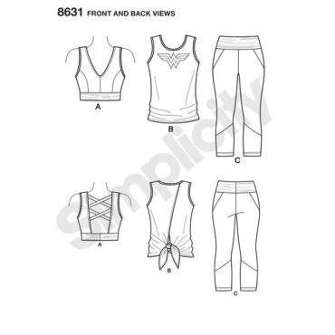 simplicity-wonder-woman-athleisure-pattern-8631-front-back-views
