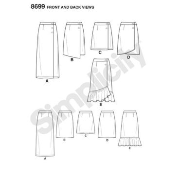 simplicity-buttoned-wrap-skirt-pattern-8699-front-back-views
