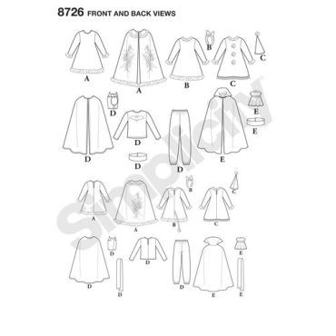 simplicity-child-cape-costumes-pattern-8726-front-back-views