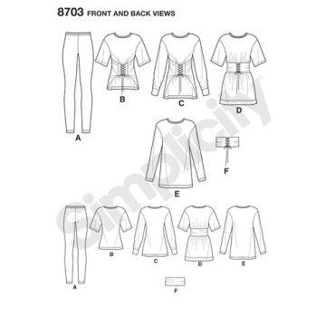 simplicity-corset-waist-sweatshirt-leggings-pattern-8703-front-back-views