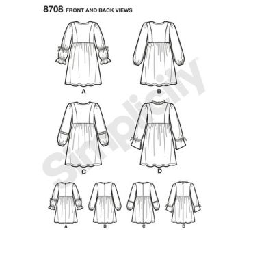 simplicity-girls-boho-dress-pattern-8708-front-back-views