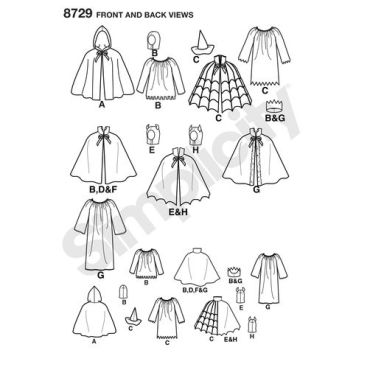simplicity-halloween-cape-costumes-pattern-8729-front-back-views