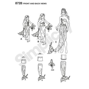 simplicity-mermaid-costumes-pattern-8728-front-back-views