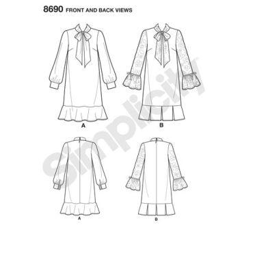 simplicity-mimi-g-bow-shift-dress-mimig-pattern-8690-front-back-views