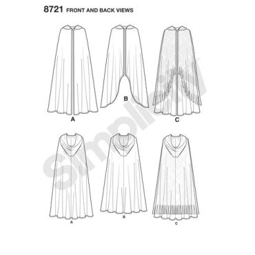 simplicity-misses-cape-costumes-pattern-8721-front-back-views