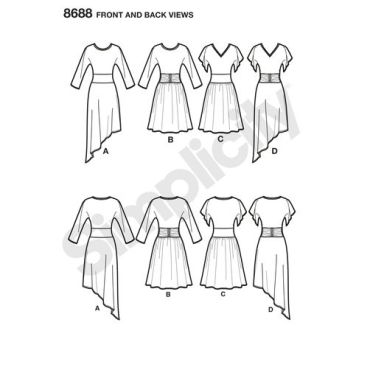 simplicity-ruched-waist-dress-pattern-8688-front-back-views