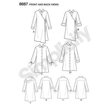 simplicity-shirt-dress-pattern-8687-front-back-views