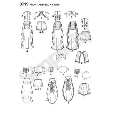 simplicity-steampunk-womens-costumes-pattern-8719-front-back-views