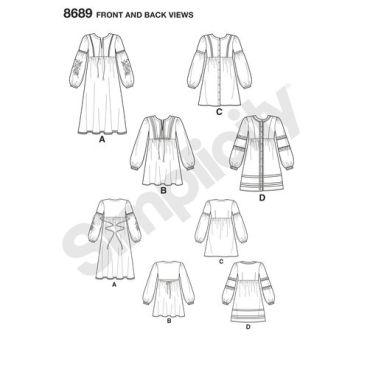 simplicity-trim-shirt-dress-pattern-8689-front-back-views
