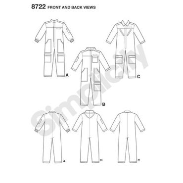 simplicity-unisex-flight-suit-pattern-8722-front-back-views