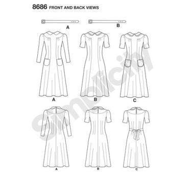 simplicity-vintage-1940s-dress-pattern-8686-front-back-views