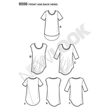 new-look-asymmetrical-shirt-top-pattern-6556-front-back-views