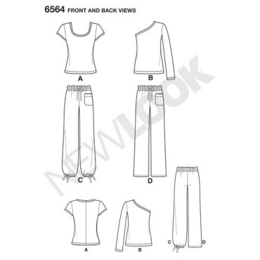 new-look-cargo-pants-pattern-6564-front-back-views