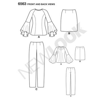 new-look-flare-sleeve-top-pattern-6563-front-back-views