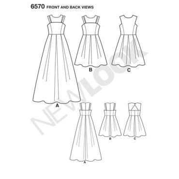 new-look-girls-fit-flare-dress-pattern-6570-front-back-views