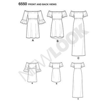 new-look-off-shoulder-dress-pattern-6550-front-back-views