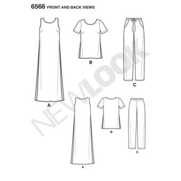 new-look-side-slit-tunic-pattern-6566-front-back-views