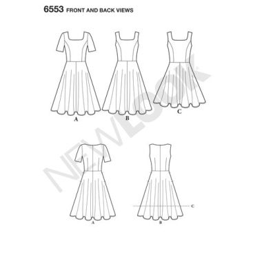 new-look-skater-dress-pattern-6553-front-back-views