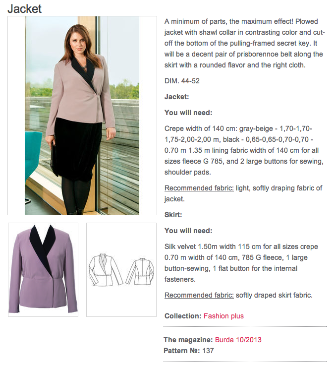fbe828d7898c BS-10-2013-137: Soft tailoring would make this Burda Plus jacket very  suitable for a Level 2 look.